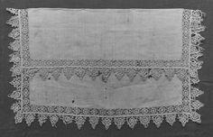 Handkerchief. lace, 1580-1600, Italian; Needle Victoria and Albert Museum.