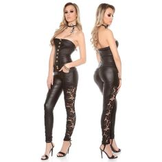 SKINNY STRAPLESS LEATHER-LOOK JUMPSUIT WITH LACE, 49,95 €