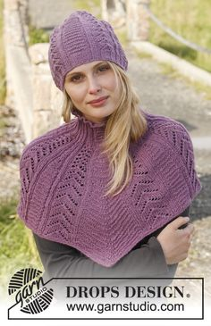"Free pattern online! 151-14 DROPS hat and neck warmer with #lace pattern in ""BabyAlpaca Silk"" #knit"