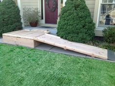 Construction plans to build wood wheelchair ramps. One man DIY sectional wooden ramp can be built to any length Handicap Accessible Home, Handicap Ramps, Wheelchair Ramps For Home, Wooden Ramp, Overland Park Kansas, Ramp Design, Access Ramp, Wheelchair Accessories, Front Porch Design