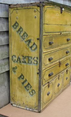 Antique Primitive Folk Art Advertising Bakers Bread Wagon Cupboard Painted Sign #WhiteBrown