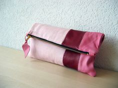 Leather Clutch in Italian Leather and Petal Pink Linen - Indie Patchwork Series
