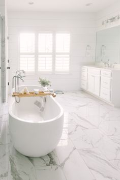 Farmhouse bathroom classic bathroom fake marble less looking shiplap bathro . Clawfoot Tub Bathroom, Marble Bathroom Floor, White Marble Bathrooms, White Master Bathroom, Luxury Master Bathrooms, Shiplap Bathroom, Classic Bathroom, Bathroom Design Luxury, Small Bathroom