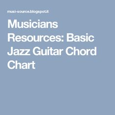 Musicians Resources: Basic Jazz Guitar Chord Chart