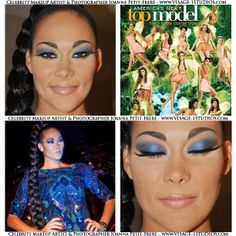 It was a pleasure doing the makeup for American Top Model the beautiful contestant Jade. She's wearing my smokey blue cat eye shadow look with bronzed skin and a nude gloss. Book your special event, fashion show, photo shoot, wedding or glam makeup with me, Joanna Petit-Frere Boston  Celebrity Makeup Artist. Please  visit www.visage-1studios.com for more of my makeup artistry and photography.