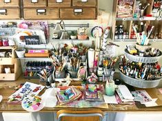 """This is where I do most of my """"art"""" work. It is the perfect spot in my studio because from my stool I have not one, but two beautiful… Art Studio Storage, Art Studio Room, Art Studio Design, Art Studio Organization, Art Studio At Home, Home Art, Painting Studio, Studio Spaces, Art Desk"""