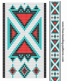 free beading patterns | free-beading-pattern-guitar-strap-4-directions-turquoise-red