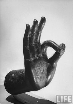 "Ancient Siamese Buddhist art Hand of Buddha in ""Teaching Position,"" 1961  Photo: Robert W. Kelley"