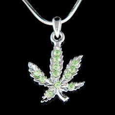 f1441cae8b Swarovski Crystal Dainty Green Medical Marijuana Leaf Weed Cannabis 420  Reefer Pot Hip Boho Spirit U