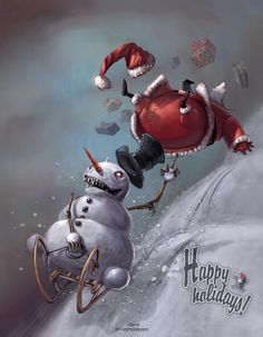 Jolly Old Santa Claus Illustrations - We all have a general concept of Santa Claus. He is a fat, jolly old man who travels the world on Chri. Merry Christmas, Dark Christmas, Halloween Christmas, Halloween Skull, Christmas Humor, Winter Illustration, Character Illustration, Illustration Art, Illustration Pictures