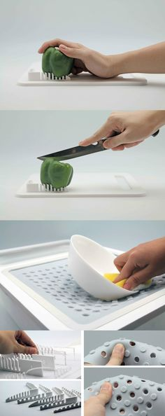 Adaptive Cooking Oneware is a set of kitchen apparatuses for one-handed people who still want to or need to cook Adaptive Equipment, Aging In Place, Yanko Design, Cool Inventions, Smart Design, Occupational Therapy, Food Design, Cool Gadgets, Kitchen Gadgets