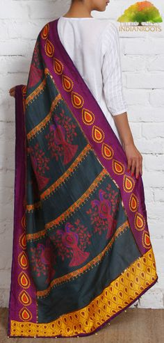 #Grey, #Pink and #Yellow Dupion #Silk Dupatta by Udd at Indianroots.com