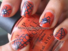 Spider and web Hallowe'en nail art with OPI Chop sticking to my story and tape manicure http://www.mybeautyjunction.com/2013_11_01_archive.html#.UxbuCD-9DfI