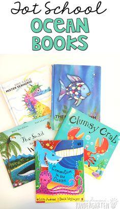 5 great ocean themed books for tot school, preschool, or the kindergarten classroom.