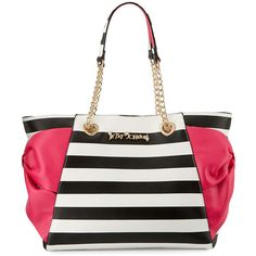 Betsey Johnson Hotty Pocket Bow Tote Bag ($108) ❤ liked on Polyvore featuring bags, handbags, tote bags, stripe, zip tote, zippered tote bag, tote handbags, pocket tote and white handbags