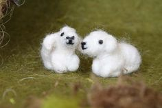 Needle Felted Animal, TWO little lambs, felted sheep, Nativity Set, Waldorf Nativity, Original design by Borbala Arvai, made to order