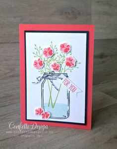 I love the simplicity and bright colours of this card with pretty flowers made with Jar of Love. Give this card to someone who needs cheering up.