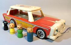 1960 Fisher Price 234 Nifty Sation Wagon - first time I've ever seen this ! My Childhood Memories, Childhood Toys, Sweet Memories, Fisher Price Toys, Vintage Fisher Price, Retro Toys, Vintage Toys, Brother Quotes, Daughter Quotes