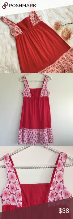 "Anthro Eloise Floral Embroidered Sun Dress Size XS Beautiful and Very Romantic Style Sun dress Made by Eloise for Anthropologie in Red and White Colors. It features a large floral embroidery on hemline, shoulder straps and upper back. It has an elastic gathering at waist for the perfect fit. Pre loved in great condition! Made of 100% cotton.  Bust measures 16"" Total length is 33 1/2"". Anthropologie Dresses Midi"
