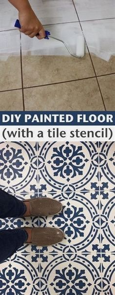 How to Paint and update your tile floors! -- A list of some of the best home remodeling ideas on a budget. Easy DIY, cheap and quick updates for your kitchen, living room, bedrooms and bathrooms to help sell your house! Lots of before and after photos to #remodelingyourkitchen #remodelingbeforeandafter #diyhomeremodeling #RemodelingIdeas