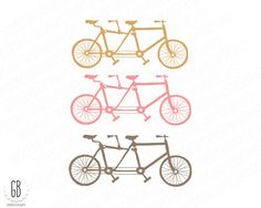 Tandem bicycle clip art balloons bride groom by GrafikBoutique