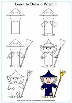 Learn to draw a witch tutorial for kids, step by step instructions