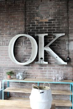 Letters & Logo's Archieven - quip&Co Shallow Shelves, Vintage Lettering, Exposed Brick, Industrial Chic, Letters And Numbers, Sweet Home, Interior Design, Mirror, Inspiration