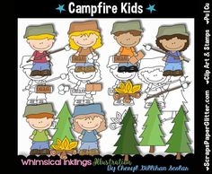 Campfire Kids Digital Clip Art, Black and White Image Set, Commercial Use, Instant Download, Digital Stamps, Line Art, Camping, Camper, Camp by ResellerClipArt on Etsy