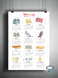 2016 Fashion Calendar  11X17  Wall Art  Home by stagedpresents