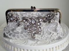 Silver Handbag / Glam Wedding / Romantic by PetiteVintageBags