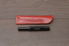 Personalized Pen Sleeve for Kaweco Mini Fountain Pen, Vegetable-tanned Leather, Handmade Hand-stitched, Red