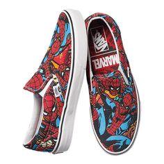 5d300622eb Vans Men s Classic Slip On Marvel Spiderman Shoes - Black