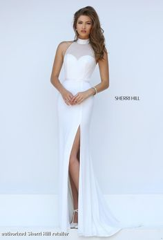 11328 Sherri Hill. Prom Dress 2016. Sherri Hill Prom 2016. Long White Prom Dress with Mesh detailing and slit up the side.