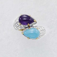 An Amethyst and Turquoise Ring CARTIER circa 1950 of cross-over design