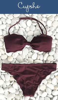 New Arrival! Own one, ladies. Deliver yourself a more elegant look on the beach, with a marvelous piece of burgundy colored bikini. Do have it, Today!