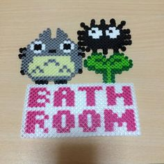 Totoro bathroom sign perler beads by Mai-chan
