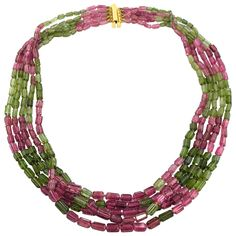 Jona Pink and Green Tourmaline Gold Multistrand Necklace | See more rare vintage Multi-Strand Necklaces at https://www.1stdibs.com/jewelry/necklaces/multi-strand-necklaces