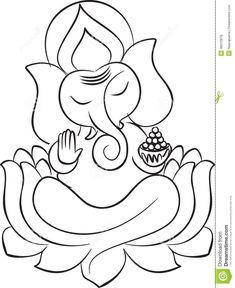 Lord Ganesha On Lotus Line Art Stock Vector - Illustration of peace, decoration: 46012976 Outline Art, Outline Drawings, Art Drawings Sketches Simple, Easy Drawings, Ganesha Drawing, Ganesha Painting, Ganesha Art, Ganesh Rangoli, Ganesha Tattoo Lotus