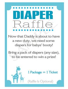 Printable DIY Blue Safari Baby Shower Diaper Raffle by ElvasCrafts, $6.00
