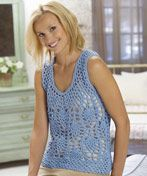 KTV2013C Light & Lacy Top -- free pattern, crochet pineapple lace tank layer over