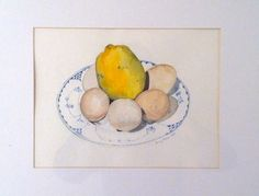 Lemon and and brown eggs on blue & white pottery.  watercolor by Amy Moore, 1992