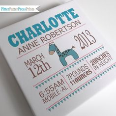 Birth Announcement Canvas for Baby // by pitterpatterpress on Etsy, $59.00