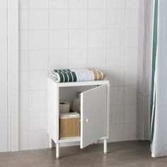 IKEA DYNAN Cabinet with door White cm You quickly create a personal storage solution with several cabinets since they are easy to assemble – and. Ikea Sinks, Ikea Bathroom, Small Bathroom, Bathrooms, Bathroom Cabinets, Bathroom Renovations, Modular Shelving, Open Shelving, Shelves