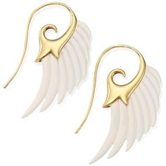 Noor Fares Fly Me To The Moon Ivory & 18K Yellow Gold Wing Earrings (43 715 ZAR) ❤ liked on Polyvore featuring jewelry, earrings, apparel & accessories, 18 karat gold earrings, 18k gold jewelry, 18k jewelry, carved ivory jewelry and wing earrings