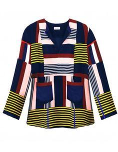 Stripe Silk Blouse