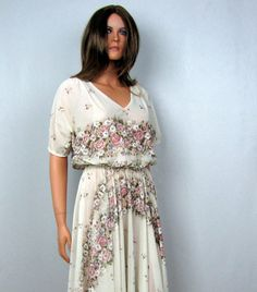 Vintage 1970s Romantic Vintage Flowing Garden Party by OsoVictoria, $35.00