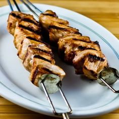 Grilled Pork Kabobs with Spicy Peanut Butter, Sesame, and Soy Sauce Marinade (just use gluten-free soy sauce & it'll be gluten free) from kalynskitchen.com - sounds delicious!