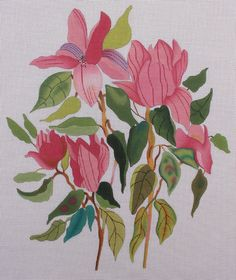 The Collection Designs Pink Tulips 210A Hand Painted Needlepoint Canvas #TheCollectionDesigns