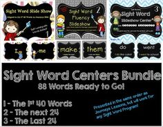 This bundle includes my animated slideshow centers with words presented in the order of the 88 words from Journeys new series.  Although they will work for any reading program as a review center, they are especially helpful as you progress through the year with your lessons.