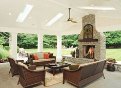The space feels bright and cheerful thanks to a painted white vaulted ceiling with skylights.